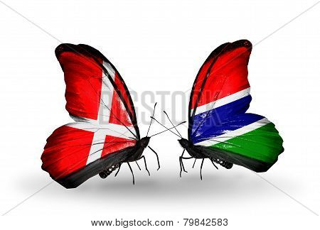Two Butterflies With Flags On Wings As Symbol Of Relations Denmark And Gambia