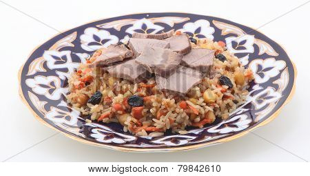 Pilaff With Vegetables, Raisin, A Nut And Meat