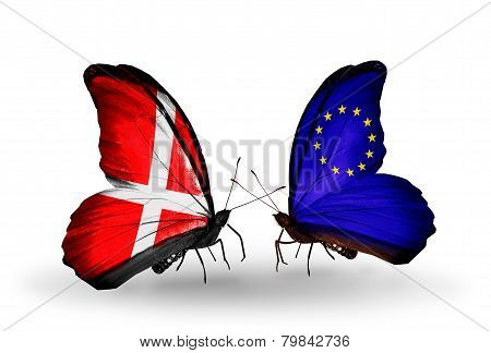 Two Butterflies With Flags On Wings As Symbol Of Relations Denmark And Eu