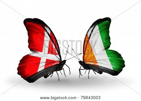Two Butterflies With Flags On Wings As Symbol Of Relations Denmark And Cote Divoire