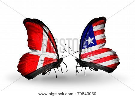 Two Butterflies With Flags On Wings As Symbol Of Relations Denmark And Liberia