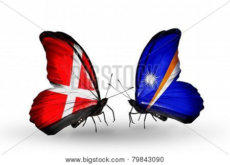 Two Butterflies With Flags On Wings As Symbol Of Relations Denmark And Marshall Islands