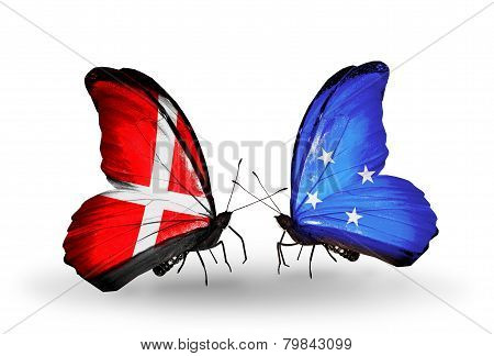 Two Butterflies With Flags On Wings As Symbol Of Relations Denmark And Micronesia