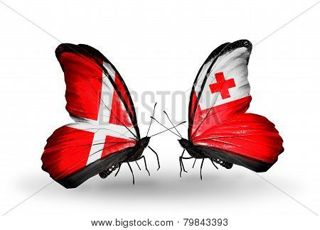 Two Butterflies With Flags On Wings As Symbol Of Relations Denmark And Tonga