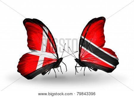 Two Butterflies With Flags On Wings As Symbol Of Relations Denmark And Trinidad And Tobago