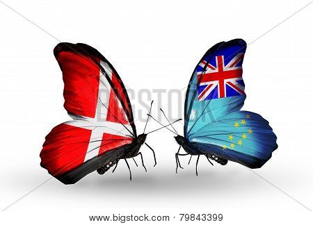 Two Butterflies With Flags On Wings As Symbol Of Relations Denmark And Tuvalu