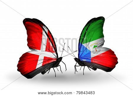 Two Butterflies With Flags On Wings As Symbol Of Relations Denmark And Equatorial Guinea