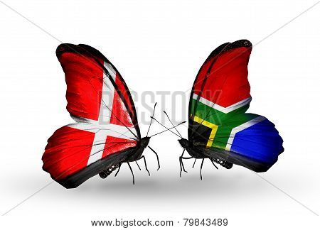 Two Butterflies With Flags On Wings As Symbol Of Relations Denmark And South Africa