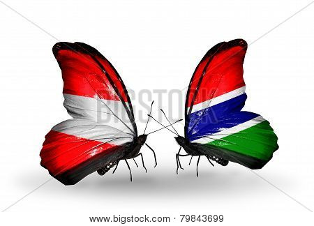 Two Butterflies With Flags On Wings As Symbol Of Relations Austria And Gambia