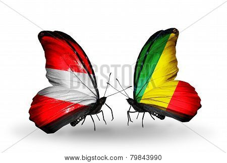 Two Butterflies With Flags On Wings As Symbol Of Relations Austria And Kongo