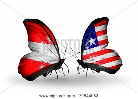 Two Butterflies With Flags On Wings As Symbol Of Relations Austria And Liberia