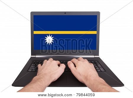 Hands Working On Laptop, Nauru