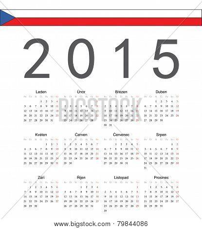 Simple Czech 2015 Year Vector Calendar