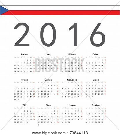 Simple Czech 2016 Year Vector Calendar