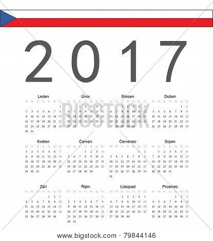 Simple Czech 2017 Year Vector Calendar