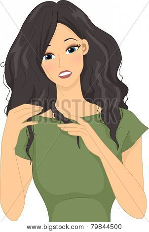 Illustration of a Girl Stressing Over Her Dry Frizzy Hair