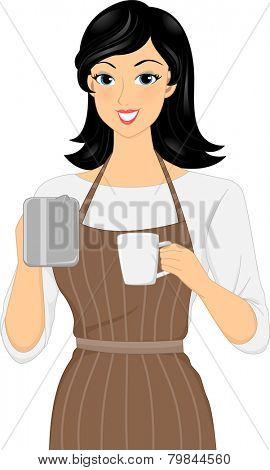 Illustration of a Female Barista Preparing a Cup of Coffee
