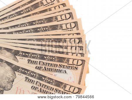Heap of ten dollar bills.