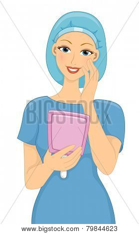 Illustration of a Female Patient Satisfied With the Result of Her Cosmetic Surgery