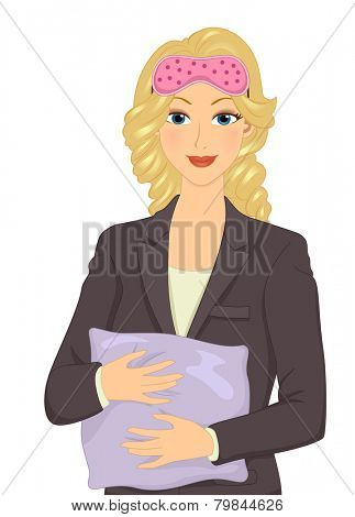 Illustration of a Female Office Employee Preparing to Take a Nap