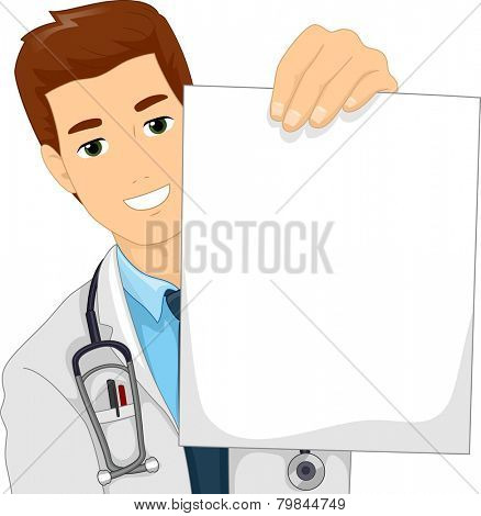 Illustration of a Doctor in a Lab Coat Holding a Blank Paper