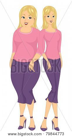 Illustration of a Fat Girl and a Thin One Standing Side by Side