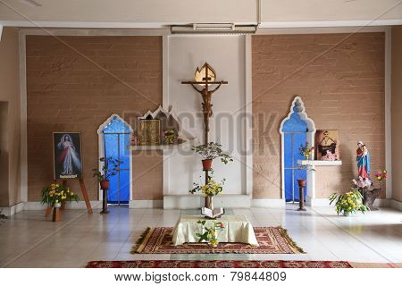 BASANTI, INDIA - JANUARY 17, 2009: Chapel in Little Flower Convent in Basanti, West Bengal, India. The first Daughters of the Cross came to Basanti on May 22, 1934.