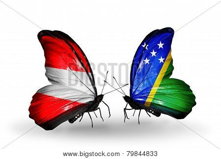 Two Butterflies With Flags On Wings As Symbol Of Relations Austria And Solomon Islands