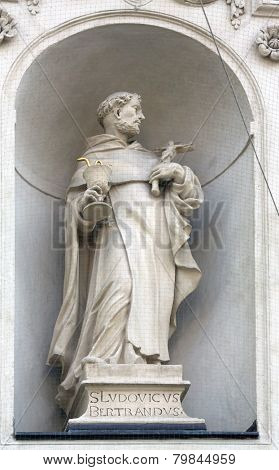 VIENNA, AUSTRIA - OCTOBER 10: Saint Louis Bertrand on the facade of Dominican Church in Vienna, Austria on October 10, 2014. Famous baroque church was completed in 1634.