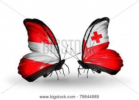 Two Butterflies With Flags On Wings As Symbol Of Relations Austria And Tonga