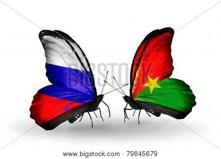Two Butterflies With Flags On Wings As Symbol Of Relations Russia And Burkina Faso