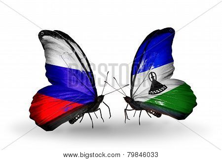 Two Butterflies With Flags On Wings As Symbol Of Relations Russia And Lesotho