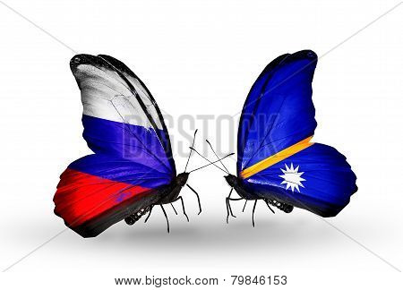 Two Butterflies With Flags On Wings As Symbol Of Relations Russia And Nauru