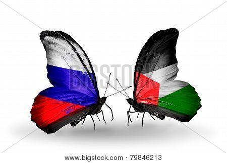 Two Butterflies With Flags On Wings As Symbol Of Relations Russia And Palestine
