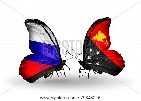 Two Butterflies With Flags On Wings As Symbol Of Relations Russia And Papua New Guinea