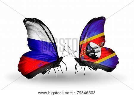 Two Butterflies With Flags On Wings As Symbol Of Relations Russia And Swaziland