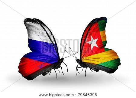 Two Butterflies With Flags On Wings As Symbol Of Relations Russia And  Togo