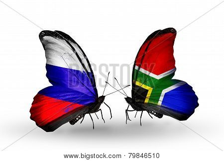 Two Butterflies With Flags On Wings As Symbol Of Relations Russia And South Africa