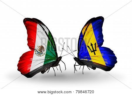 Two Butterflies With Flags On Wings As Symbol Of Relations Mexico And Barbados