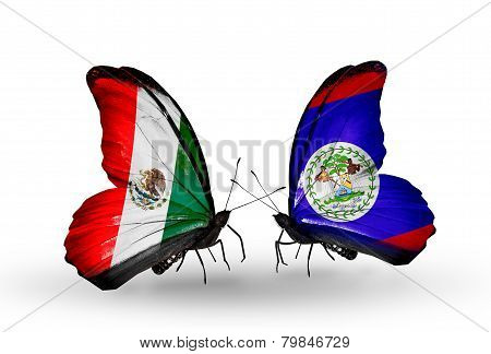 Two Butterflies With Flags On Wings As Symbol Of Relations Mexico And Belize