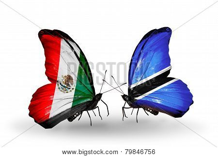 Two Butterflies With Flags On Wings As Symbol Of Relations Mexico And Botswana