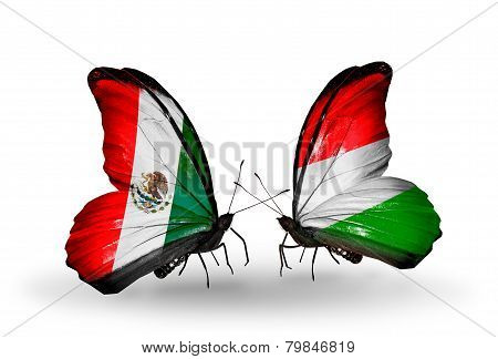 Two Butterflies With Flags On Wings As Symbol Of Relations Mexico And Hungary