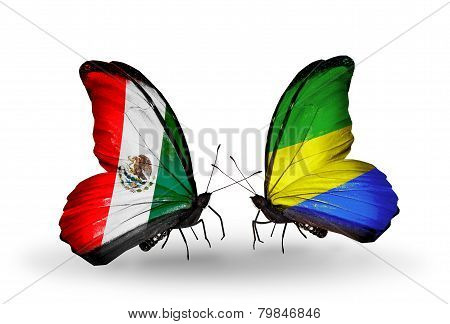 Two Butterflies With Flags On Wings As Symbol Of Relations Mexico And Gabon