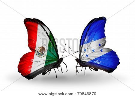 Two Butterflies With Flags On Wings As Symbol Of Relations Mexico And Honduras