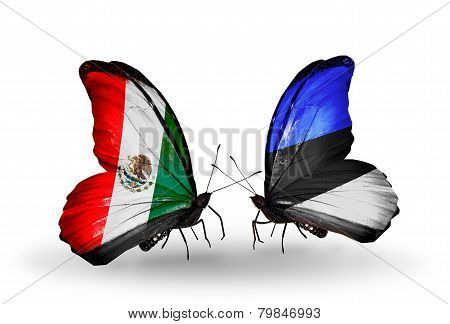 Two Butterflies With Flags On Wings As Symbol Of Relations Mexico And Estonia