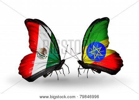 Two Butterflies With Flags On Wings As Symbol Of Relations Mexico And Ethiopia