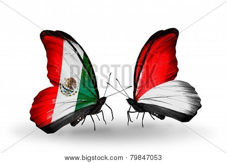 Two Butterflies With Flags On Wings As Symbol Of Relations Mexico And Monaco, Indonesia