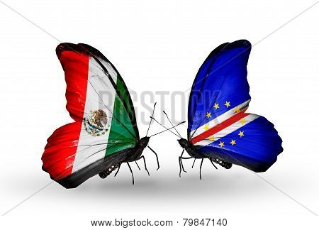 Two Butterflies With Flags On Wings As Symbol Of Relations Mexico And Cape Verde