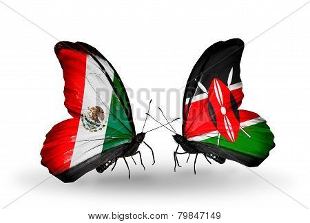 Two Butterflies With Flags On Wings As Symbol Of Relations Mexico And Kenya