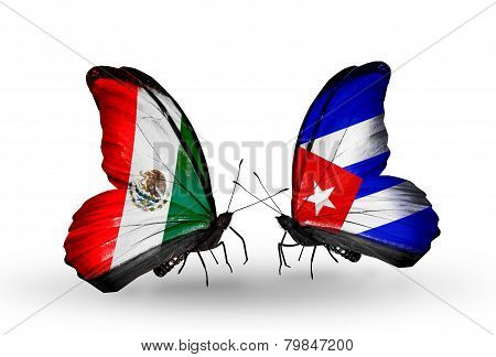 Two Butterflies With Flags On Wings As Symbol Of Relations Mexico And Cuba